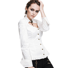 Steampunk Long Sleeve White Blouses Women Gothic Cotton Sexy Shirt Blouse V-neck Slim Fit Clothing Big Size Cheap Tops 2017