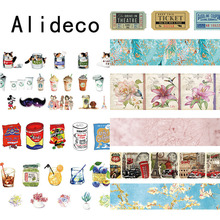 Alideco 1 pcs Washi Masking Tapes Retro Coffee Flower Decorative Adhesive Scrapbooking DIY Paper Japanese Stickers 1.5cm*10m(China)