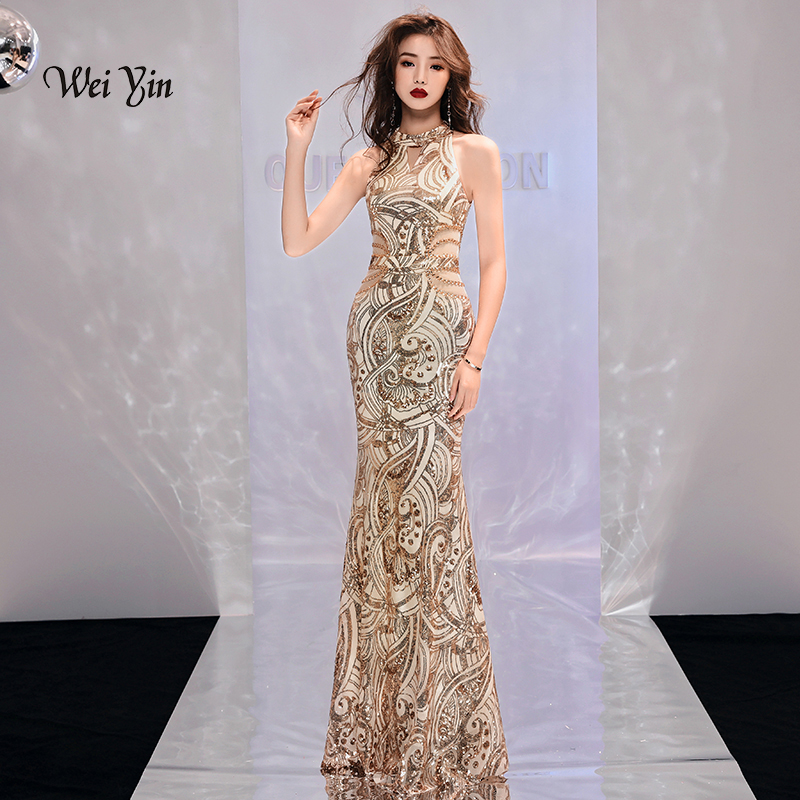 weiyin Gold Mermaid Evening Dresses 2018 Sequins Sukienka Sleeveless Formal Women Party Dress Robe Soiree Sheer Prom Gowns
