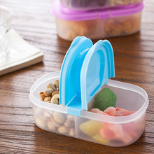 New 900ml Plastic Food Storage Box 2 Lattices Sealed Crisper Grains Tank Storage Kitchen Sorting Food Storage Box Container