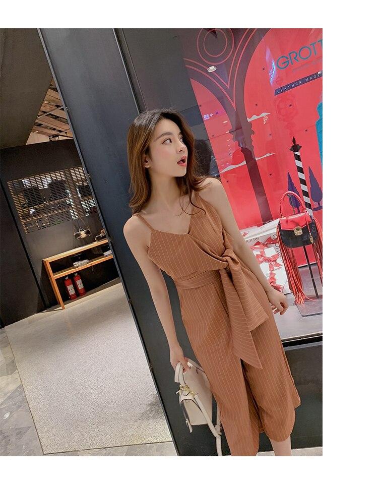 Sling Off Shoulder Sleeveless Striped Jumpsuit 2019 New Fashion V-Neck High Waist Nine Points Wide Leg Jumpsuit Summer 16 Online shopping Bangladesh