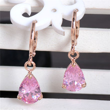 H:HYDE Nice Shipping 1Pair Gold Color Charming Waterdrop CZ Cubic Zirconia Womens Dangle earrings(China)