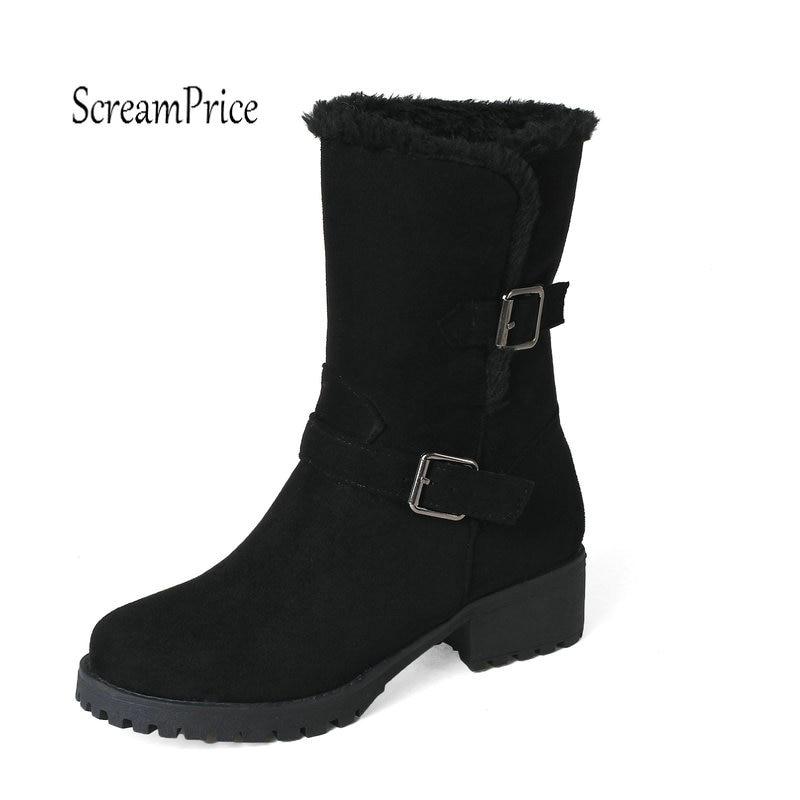 Faux Suede Winter Plush Warm Mid Calf Snow Boots Fashion Buckle Thick High Comfortable Shoes Woman Beige Khaki Black<br>