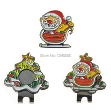 Free Shipping Brand New Christmas Santa Claus Golf Ball Marker Plus Golf Hat Clip, Magnetic Ball Mark.