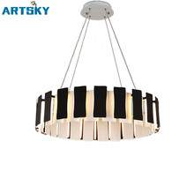 Brief Post-modern Aluminum Black&White Round LED Pendant Lamps Acrylic Home Decorate Lighting for Living Room Bedroom Restaurant