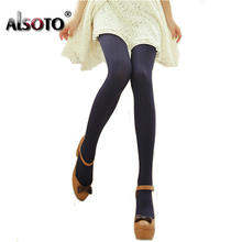 Buy ALSOTO Women Tights sexy stockings girls High elastic super Slim Women's pantyhose fashion casual vertical stripes tights