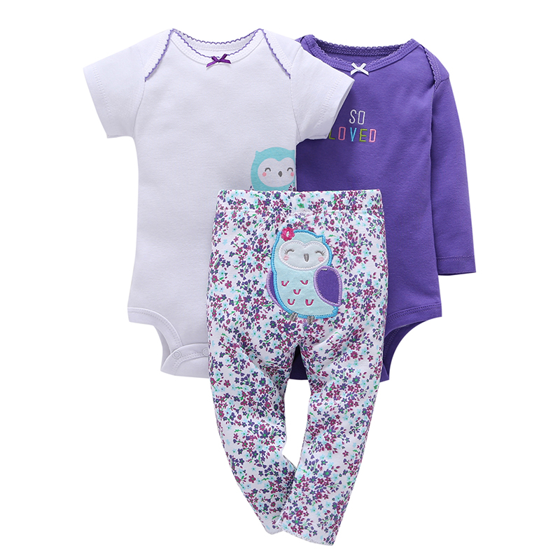 100% Cotton 2017 New baby boy girl clothes set , kids bebes girl purple owl 3pcs clothing set ropa suit