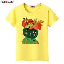 BGtomato T shirt Creative design colorful cat t shirt New style art work t-shirt women Brand good quality casual tshirt