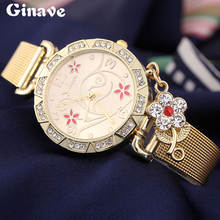 Lady Fashion Quartz Watch Women Rhinestone Cute Casual Dress Women's Watch Gold Crystal Flower Diamond Pendant 2016 montre femme