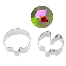 2 pcs Cake Mold Pea Flower Petals Fondant Cake Mold Stainless Steel Pastry Cookie Cutters Bakeware Kitchen Cake Tools E5M1