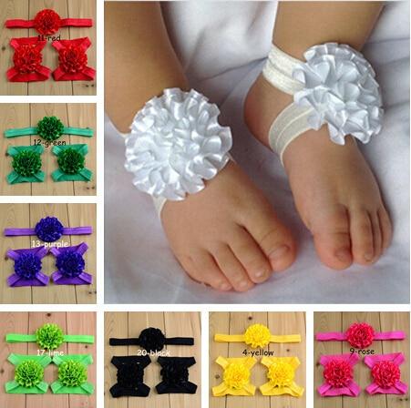 Free shipping 20pcs Satin Ruffled Flower baby barefoot sandals with matching Ruffle Flower Headband<br><br>Aliexpress