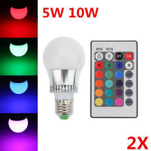 2pcs 5w/10w E27 LED RGB bulb AC85~265V 32 COLORS LED Bulb Light Spot Light LED Lamp +Romote controller Bright Limited Offer(China)