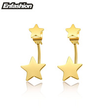 Enfashion Jewelry Double Star Earrings Black Stud Earring Rose Gold Color Earings Stainless Steel Earrings For Women Wholesale(China)