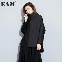 Buy EAM 2018 new spring high collar long sleeve solid color black loose split joint big size T-shirt women fashion tide JC81101 for $21.60 in AliExpress store