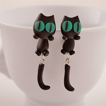 2017 Hot Selling Handmade Polymer Clay Cute Cat Animal Stud Earrings Ear Stud Jewelry Brincos Yellow Green Eyes Free Shipping(China)