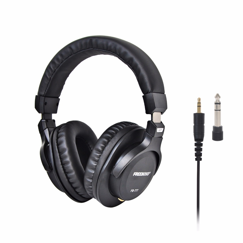 FB-777 Over-ear Closed Style 45mm Drivers Single-side Detachable cable 3.5mm Plug 6.35mm Adapter Monitor Headphones <br>