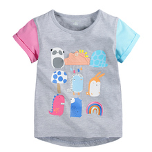 Summer girls tops tees,mixed colors cartoon pictures girls T-shirt,O-neck short sleeves children clothing,kids clothes(1-6 yrs)(China)