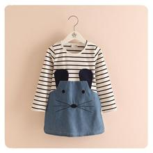 Spring And Autumn New Children Clothing Striped Patchwork Character Baby Girls Dress Denim Long Sleeve Girls Dress