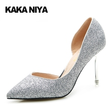High Heels Dress 2017 Sparkling Metal Gold Shoes Silver For Women 4 34 Small Size Pointed Toe Glitter Scarpin Pumps 9cm Inch(China)