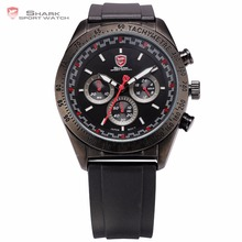 Swell Shark Sport Watch Tachymeter Bezel 24Hours Chronograph Black Red Dial Rubber Band Men Racer Car Military Wristwatch /SH271(China)
