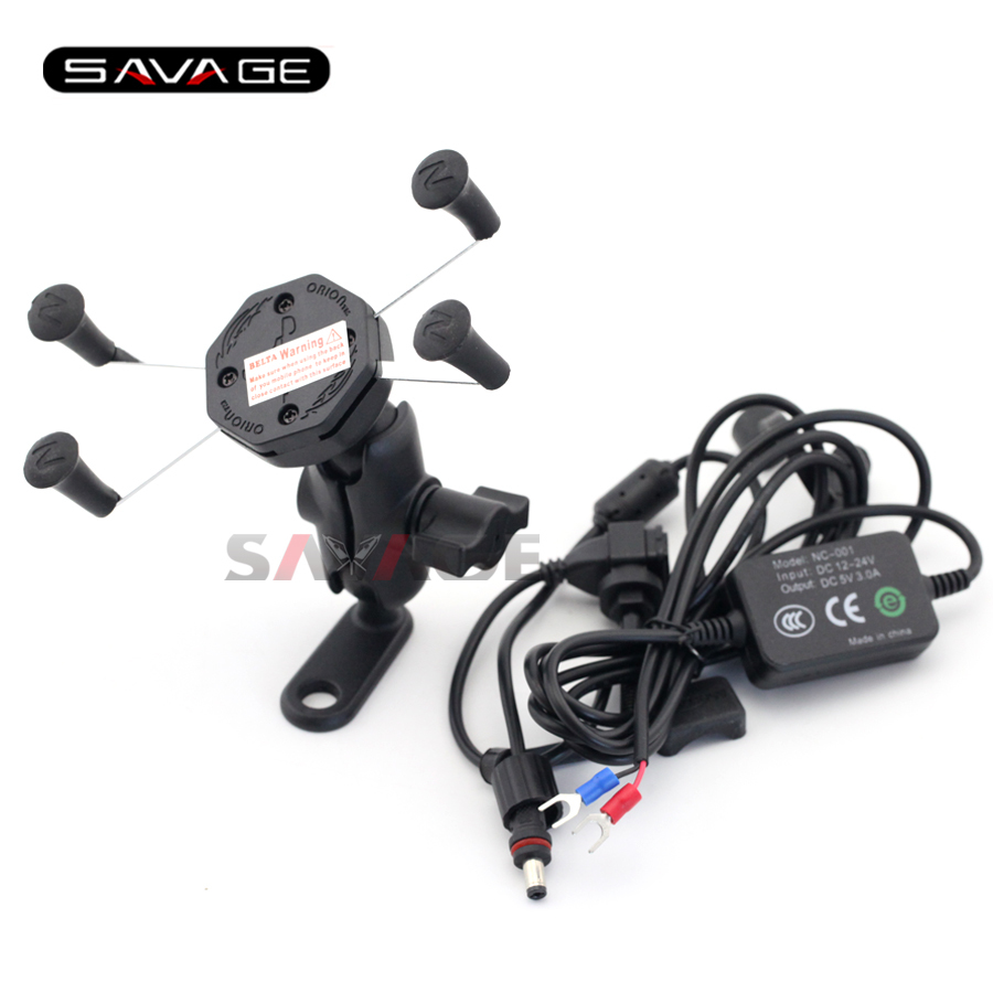 For YAMAHA FZ6 N/S FZ8 FZ1 Fazer XJR1200 XJR1300 Motorcycle Navigation Frame Mobile Phone Mount Bracket with USB charger<br>
