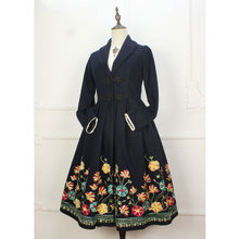 Vintage Ethnic Style Women's Long Coat Navy Blue Datura Embroidered Single Breasted Coat(China)