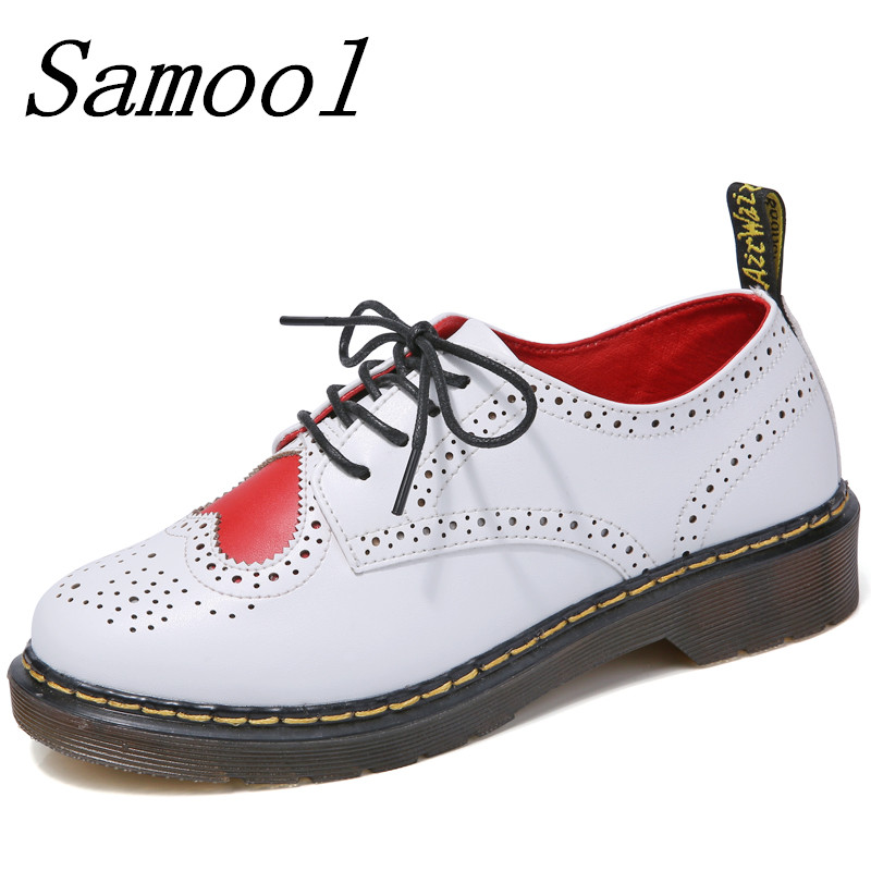 New Fashion Spring Leather vintage oxford shoes Women carved Bullock Heart shoes Leisure Ladies Lace-up scarpe Brogue Shoes jx3<br>