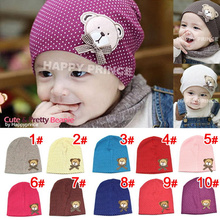 Baby Hat 2016 Children Bow Labeling Hats Newborn Dots Cubs Pattern Hat Hedging Baby Cap Suitable For 2-6 Months 10 Colors(China)