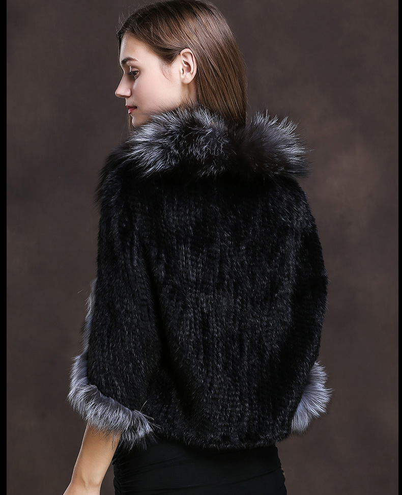 Winter Shawl Wrap Poncho Real Knit Mink Fur shawl With Fox Trimming Real fur Jacket coats party 2017 new (17)
