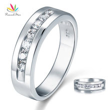 Peacock Star Round Cut Men's Bridal Wedding Band Solid 925 Sterling Silver Ring Jewelry CFR8057(Hong Kong)