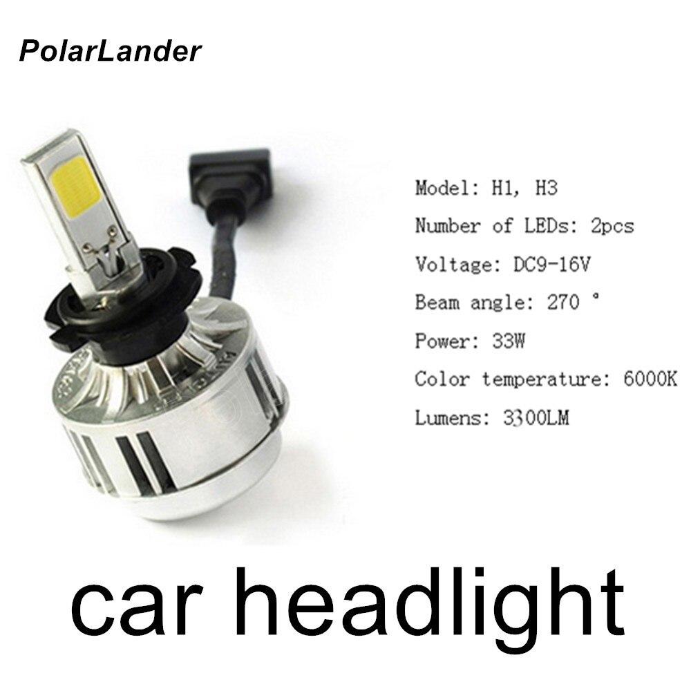 PolarLander 2 pieces 12V 24V H1 H3 COB Car Motorcycle Headlight Bulb High Low Beam 33W 3300LM 6000K Fog Lamp Bright super bright<br>