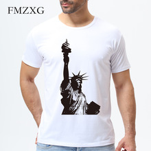 New Arrival Statue of Liberty Design Men's Fashion T shirt Custom Printed O-neck Casual Cool Tops Short Sleeve Tees Shirt M285(China)