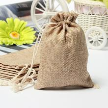5pcs 8*10cm Natural Color Jute Bag Burlap Drawstring Bags Candy Gift Beads Jewelry Bags For Storage/ Wedding Decoration