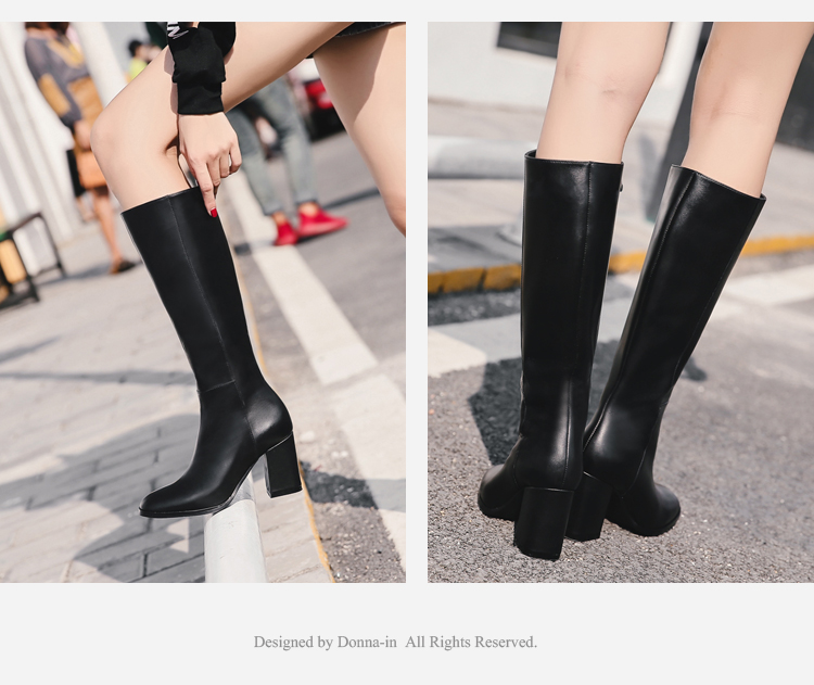 Donna-in elegant square toe high boots genuine leather women boots thick high heel ladies boots inside zipper knee-high boots 15325-7(5)