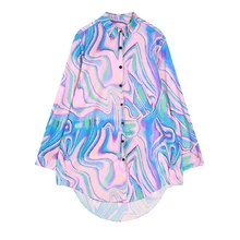 Rainbow Paisley Abstrat Pintura Legal Chiffon Blusa de Manga Longa Do Vintage Punk Rock Hippie Laser de Gradiente Harajuku BF Shirt Women