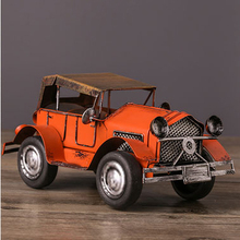 21 cm Tinplate Handmade Ancient Car Collection Showcase Retro Craftwork Tin Vintage Car Models