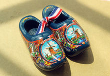 "2.5"" Netherlands Holland Dutch Wooden Shoes Travel Souvenir Fridge Magnet BLUE(China)"