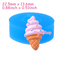 XYL023 22.5mm Ice Cream Silicone Push Mold - Dessert, Sugarcraft, Fondant, Baking Tools, Gum Paste, Chocolate, Resin Clay, Candy