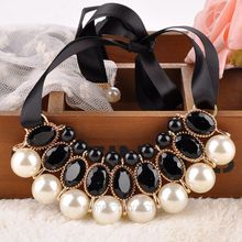 Simulated pearl necklace Vintage Choker Collar Ribbon Bead Rhinestone Pendants Chain Statement Necklaces For Women Jewelry Gifts