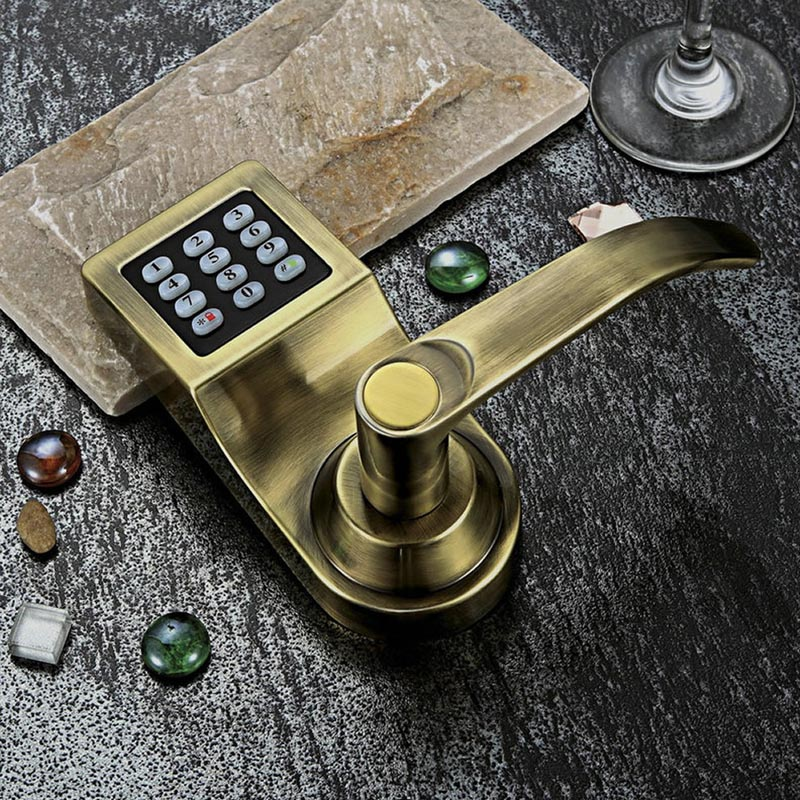 L&amp;S Electronic Smart Door Lock Digital Code Password + Card + 2 Keys Stainless Steel Single Latch Zinc Alloy Silver SL16-086S-4<br><br>Aliexpress