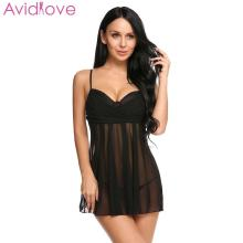 Buy Avidlove Women Chemise Costumes Sexy Lingerie Lace Erotic Babydoll V-neck Strap Sleepwear G-string See-through Dress