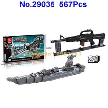 Jie Star 29035 567pcs 2in1 Military Weapon M16 Assault Rifle Submachine Gun Warship Building Block Brick Toy
