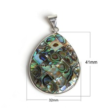 1pc Dropwater 32x41mm New Zealand Natural Abalone Shell Pendant Charms Flatback Beads for DIY Necklaces Jewelry Findings Making