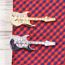Guitar tie clips & cufflinks 2colors gold silver Men Jewelry High Quality Wedding Tie Clips for Men Jewelry