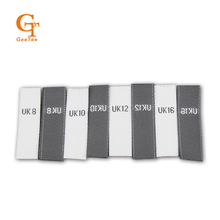 custom Europe/USA/EU/UK woven size number labels,straight cut pieces size woven tag labels, mix size clothes size label(China)