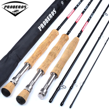 1PC Carbon Fly Fishing Rod 9FT 2.7M 4 Section Fishing Rod Line wt 3/4 5/6 7/8 Soft Cork Handle Fly Rod Fishing Tackle