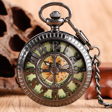 Fashion Numbers Mickey Mouse Black Pocket Watch Chic Luminous Mechanical Hand Wind Pocket & Fob Watches Online Sale(China)
