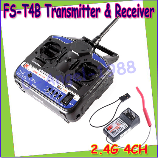 Wholesae 1pcs New 100% Original Flysky 2.4G FS-T4B 4CH Radio Model RC Transmitter &amp; Receiver Helicopter Airplane<br>