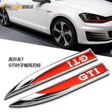 For VOLKSWAGEN VW Golf 7 mk7 GTI 7 POLO GOLF 6 car Emblem side fender red decorative standard stickers 2pcs/set car styling(China)