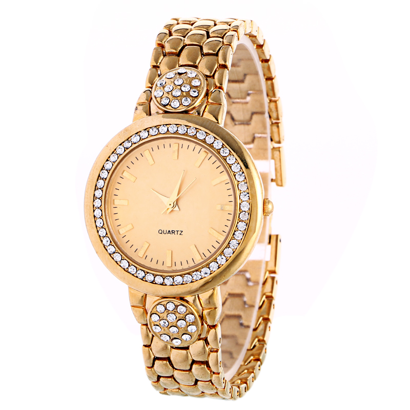 New Luxury High Quality Mteal Watch Women Waterproof Crystal Flower  Gold Bracelet Brown Qualrtz Watch Women Fashion Watch<br><br>Aliexpress